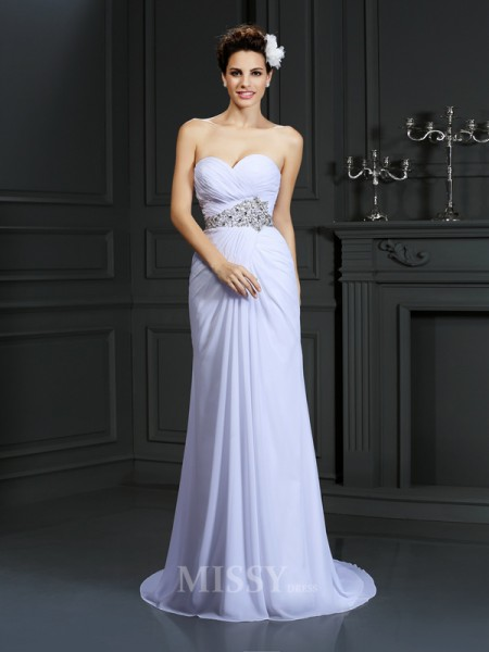 Sheath/Column Sweetheart Chapel Train Chiffon Wedding Dress With Rhinestone