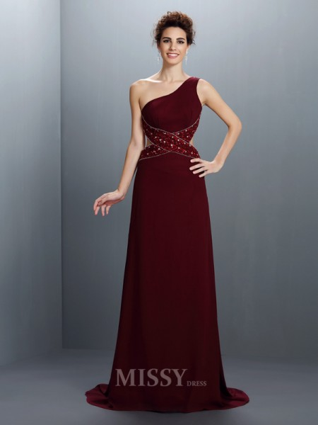 A-Line/Princess One-Shoulder Beading Sweep/Brush Train Chiffon Dress With Beading