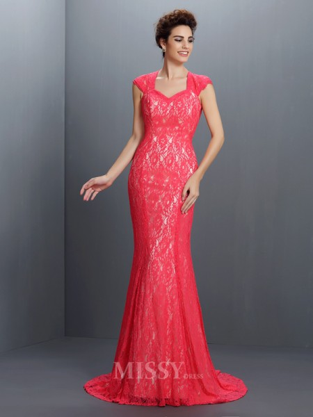 Trumpet/Mermaid V-neck Lace Sweep/Brush Train Lace Dress With Ruched