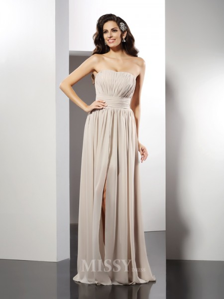 Sheath/Column Strapless Floor-Length Chiffon Dress With Applique Pleats