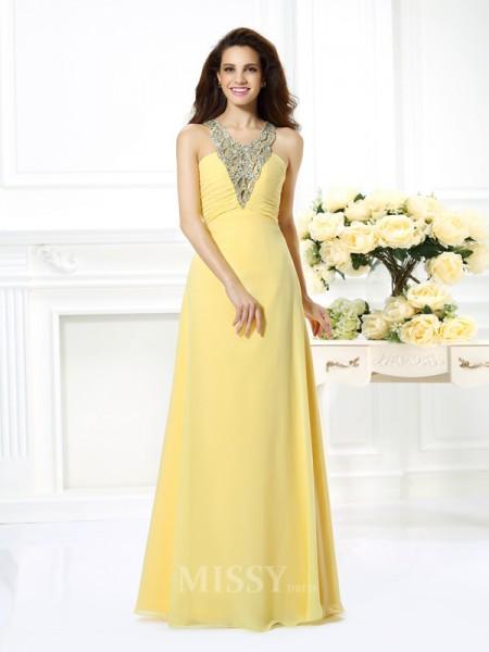 A-Line/Princess V-neck Floor-Length Chiffon Dress With Ruched