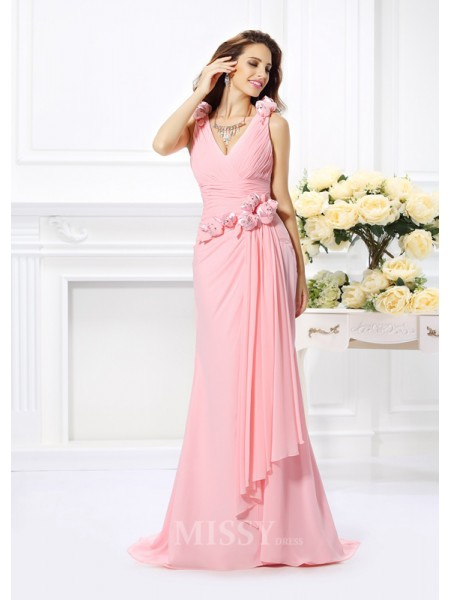 Trumpet/Mermaid Chiffon V-neck Sweep/Brush Train Dress With Hand-Made Flower