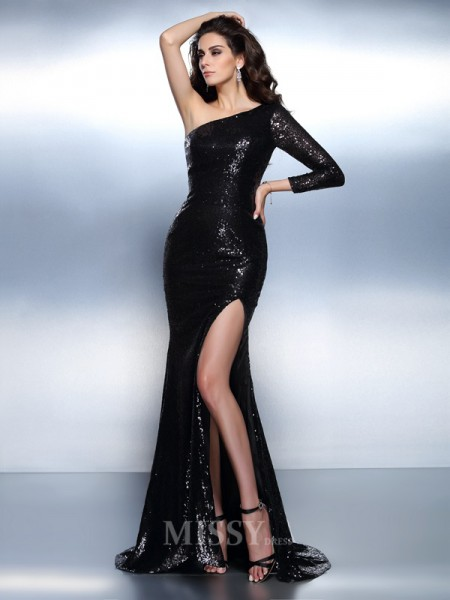 Trumpet/Mermaid One-Shoulder Long Sleeves Sweep/Brush Train Lace Dress With Applique Paillette
