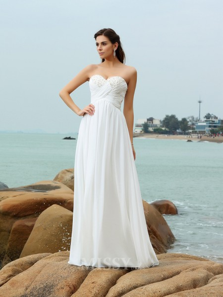 A-Line/Princess Sweetheart Sweep/Brush Train Chiffon Wedding Gown With Ruffles