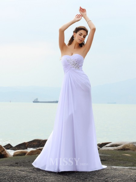 Sheath/Column Sweetheart Chiffon Chapel Train Wedding Gown With Beading