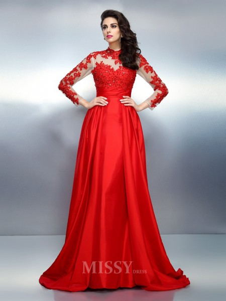 A-Line/Princess High Neck Long Sleeves Applique Sweep/Brush Train Satin Dress With Embroidery