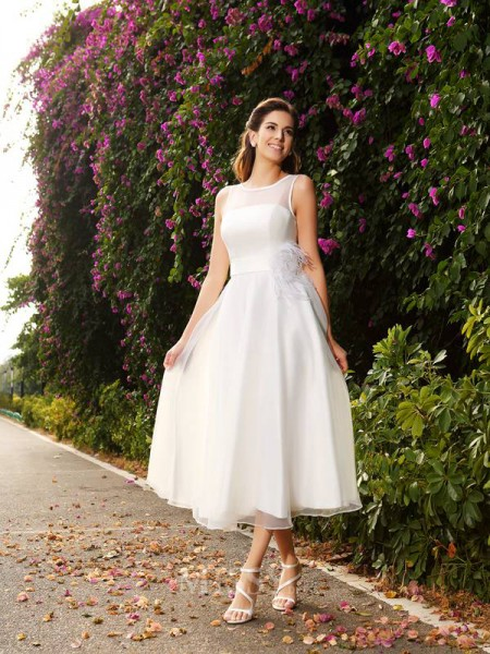 A-Line/Princess Bateau Sash/Ribbon/Belt Satin Ankle-Length Wedding Dress With Embroidery