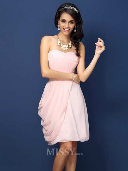 Sheath/Column Sweetheart Short/Mini Chiffon Bridesmaid Dress With Rhinestone Pleats