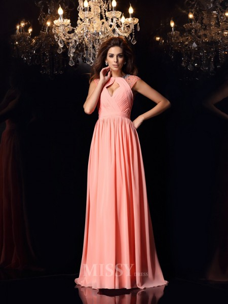 A-Line/Princess Chiffon Scoop Sweep/Brush Train Dress With Embroidery