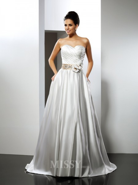 A-Line/Princess Sweetheart Court Train Satin Wedding Dress With Embroidery
