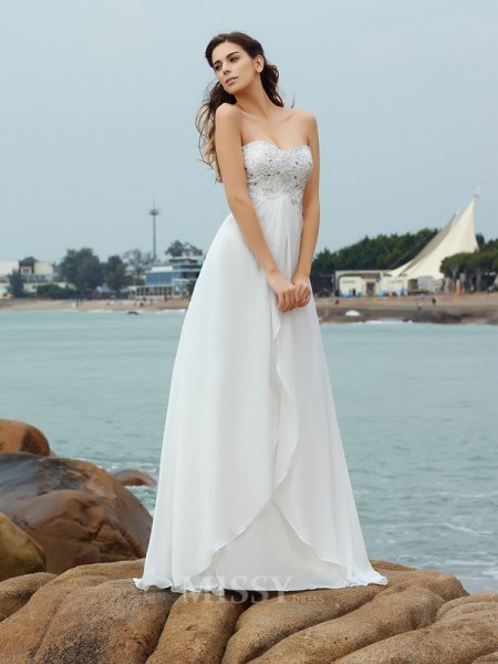 A-Line/Princess Sweetheart Chiffon Floor-Length Wedding Dress With Pleats Beading