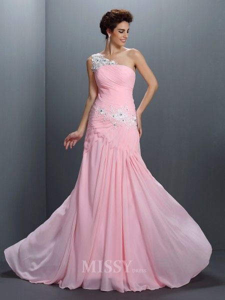 A-Line/Princess One-Shoulder Applique Floor-Length Chiffon Dress With Sash