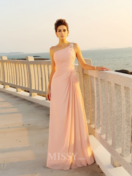 A-Line/Princess Chiffon One-Shoulder Floor-Length Beading Dress With Beading