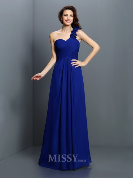 A-Line/Princess One-Shoulder Floor-Length Chiffon Bridesmaid Dress With Embroidery