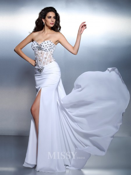 Trumpet/Mermaid Sweetheart Floor-Length Chiffon Dress With Ruched Pleats