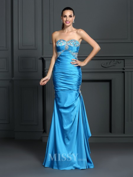 Trumpet/Mermaid Sweetheart Floor-Length Elastic Woven Satin Dress With Lace