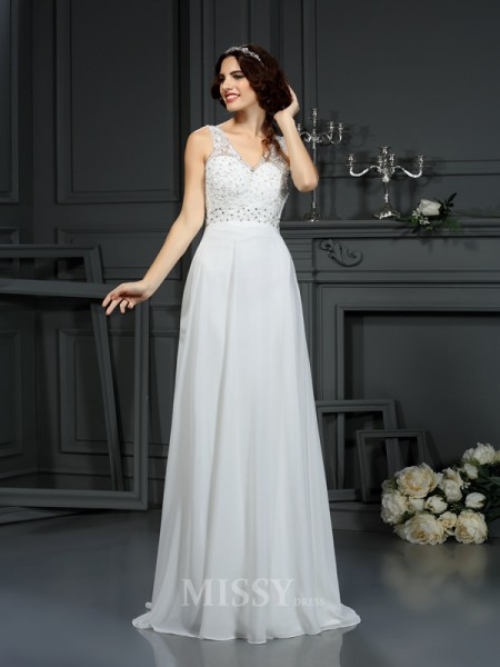 A-Line/Princess V-neck Sweep/Brush Train Lace Chiffon Wedding Dress With Beading