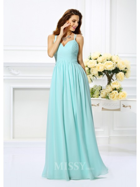 A-Line/Princess Spaghetti Straps Chiffon Pleats Floor-Length Dress With Lace