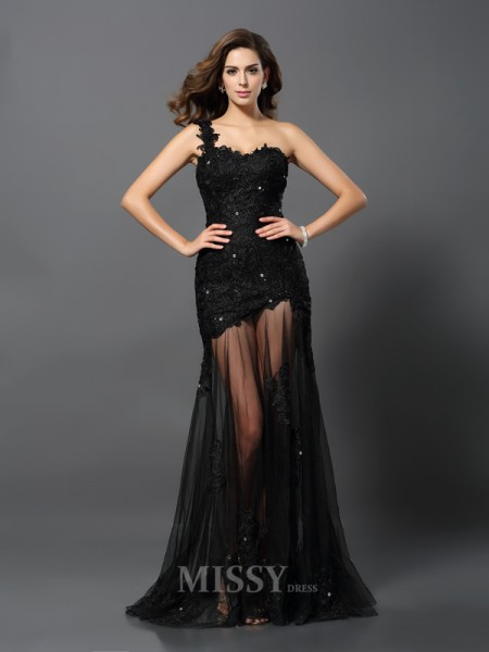 Sheath/Column One-Shoulder Lace Sweep/Brush Train Applique Dress With Beading