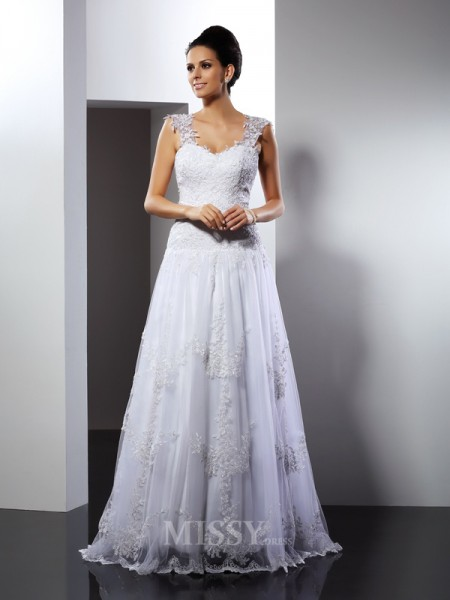 A-Line/Princess Straps Court Train Lace Wedding Dress With Sash