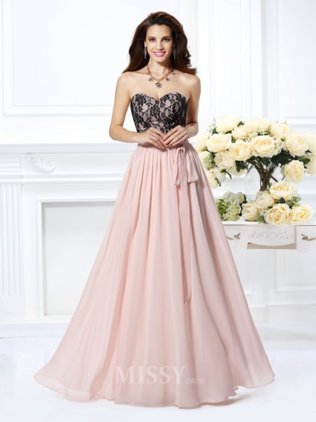 A-Line/Princess Sweetheart Lace Floor-Length Chiffon Dress With Rhinestone
