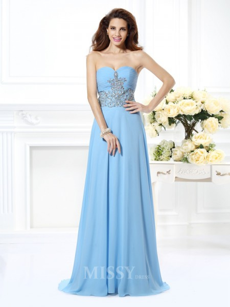 A-Line/Princess Sweetheart Beading Sweep/Brush Train Chiffon Dress With Ruched