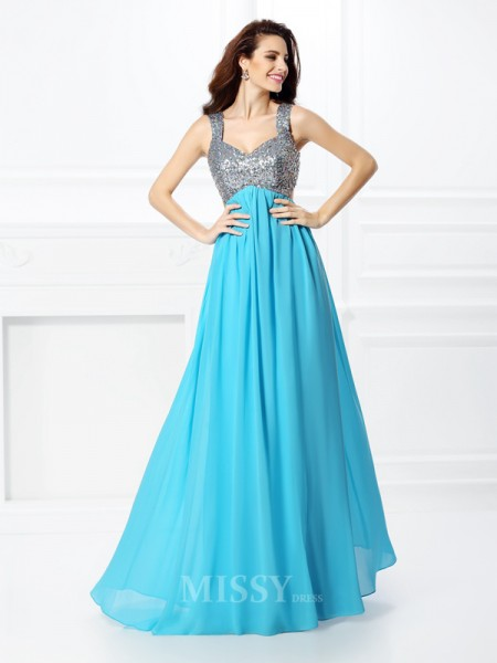 A-Line/Princess Straps Beading Floor-Length Chiffon Dress With Pleats