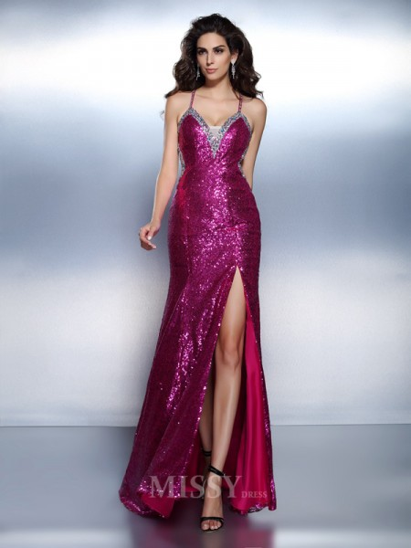 Trumpet/Mermaid Spaghetti Straps Floor-Length Chiffon Dress With Sash Beading