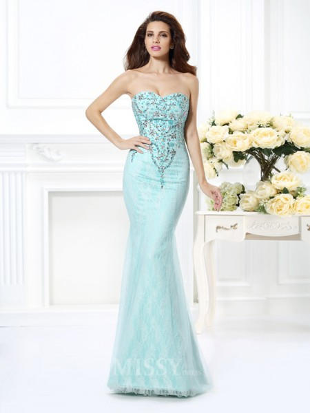 Trumpet/Mermaid Sweetheart Beading Lace Floor-Length Net Dress With Lace