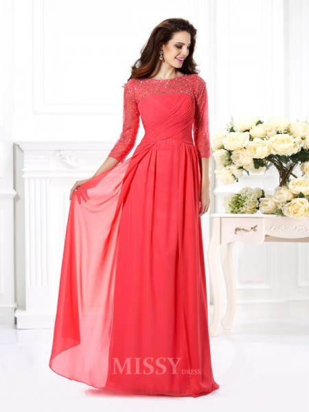 A-Line/Princess Scoop 3/4 Sleeves Beading Floor-Length Chiffon Dress With Ruffles