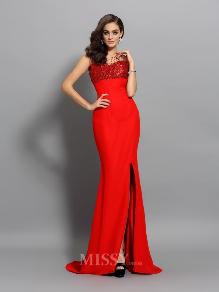 Trumpet/Mermaid Chiffon Scoop Beading Sweep/Brush Train Dress With Embroidery