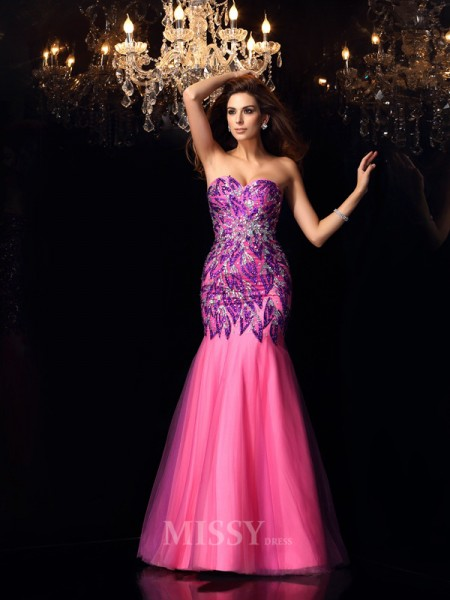 Trumpet/Mermaid Sweetheart Floor-Length Net Dress With Ruffles