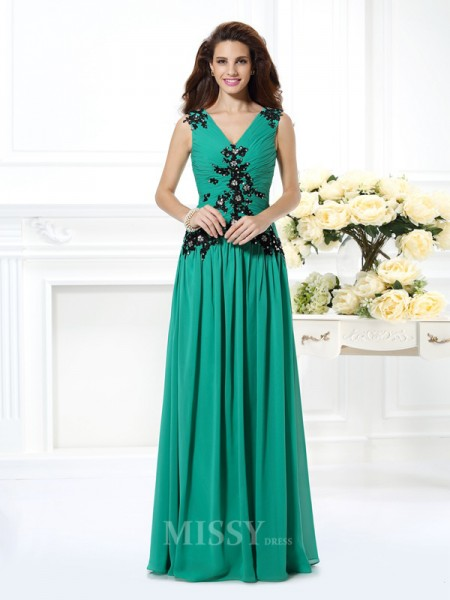 A-Line/Princess V-neck Beading Floor-Length Chiffon Dress With Beading Applique