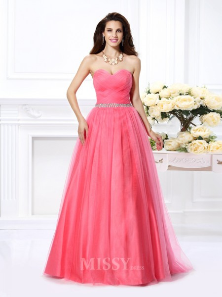 Ball Gown Sweetheart Pleats Beading Floor-Length Satin Dress With Ruffles