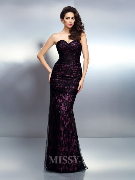 Trumpet/Mermaid Sweetheart Floor-Length Elastic Woven Satin Lace Dress With Applique