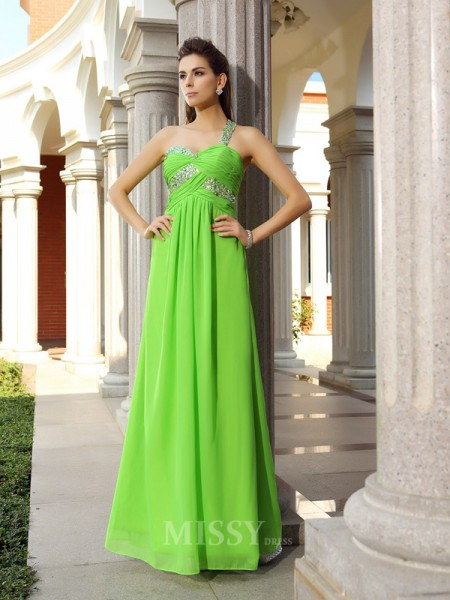 Sheath/Column One-Shoulder Chiffon Floor-Length Dress With Beading