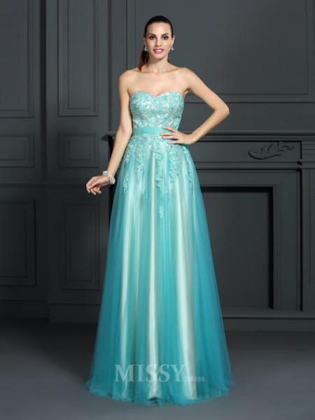 A-Line/Princess Sweetheart Floor-Length Elastic Woven Satin Dress With Applique