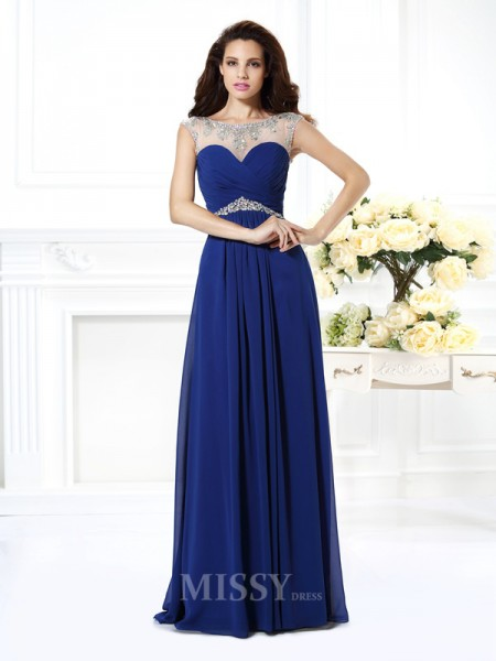 A-Line/Princess Bateau Floor-Length Chiffon Dress With Rhinestone