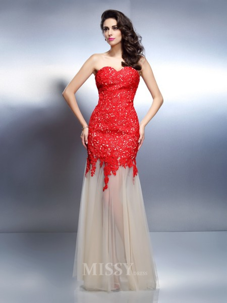 A-Line/Princess Sweetheart Floor-Length Net Dress With Ruched Applique