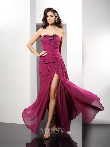 Sheath/Column Strapless Floor-Length Chiffon Dress With Pleats