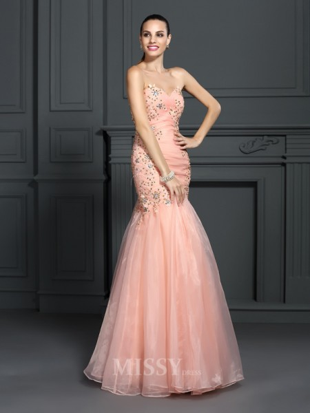 Trumpet/Mermaid Sweetheart Floor-Length Organza Dress With Pleats Applique