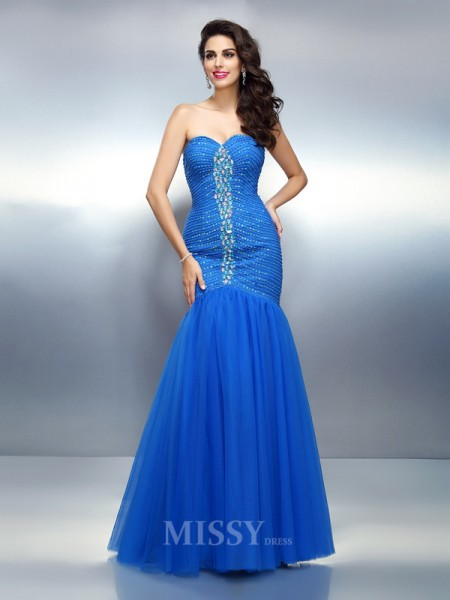 Trumpet/Mermaid Sweetheart Floor-Length Satin Dress With Sash Rhinestone