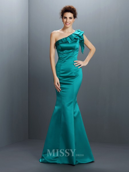 Trumpet/Mermaid One-Shoulder Floor-Length Satin Dress With Ruched
