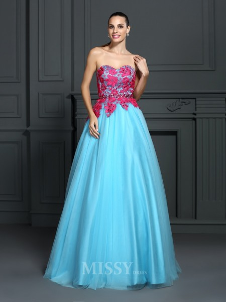 Ball Gown Sweetheart Lace Floor-Length Satin Dress With Applique
