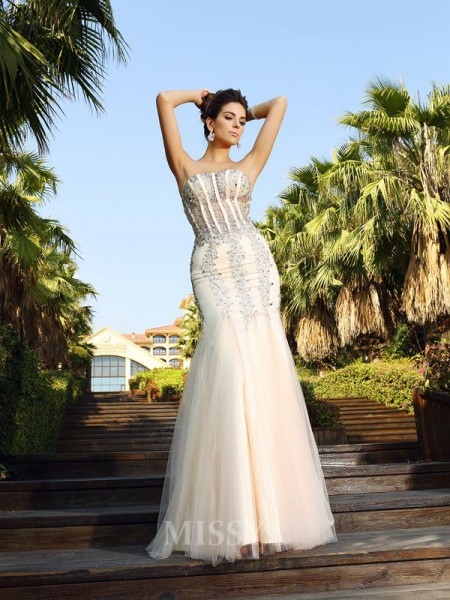 Trumpet/Mermaid Strapless Floor-Length Satin Dress With Ruffles