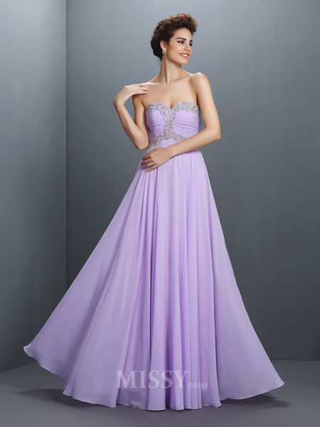A-Line/Princess Sweetheart Floor-Length Chiffon Dress With Rhinestone