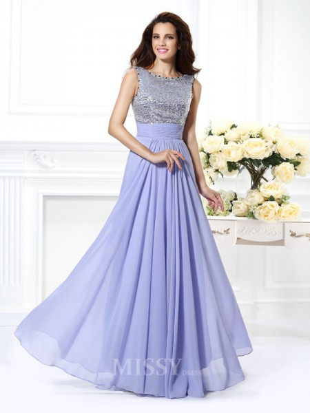 A-Line/Princess Bateau Lace Floor-Length Chiffon Dress With Ruched