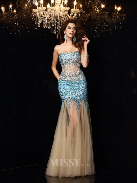 Sheath/Column Sweetheart Net Floor-Length Dress With Lace