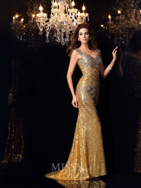 Trumpet/Mermaid Straps Sequins Floor-Length Rhinestone Dress With Sash