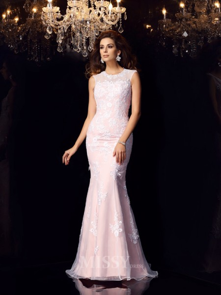 Trumpet/Mermaid Scoop Satin Lace Floor-Length Dress With Beading